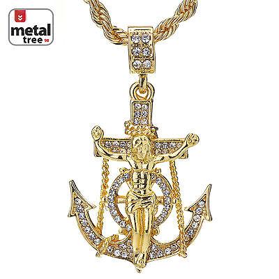Men's Hip Hop 14K Gold Plated Anchor Jesus Cross Pendant 24
