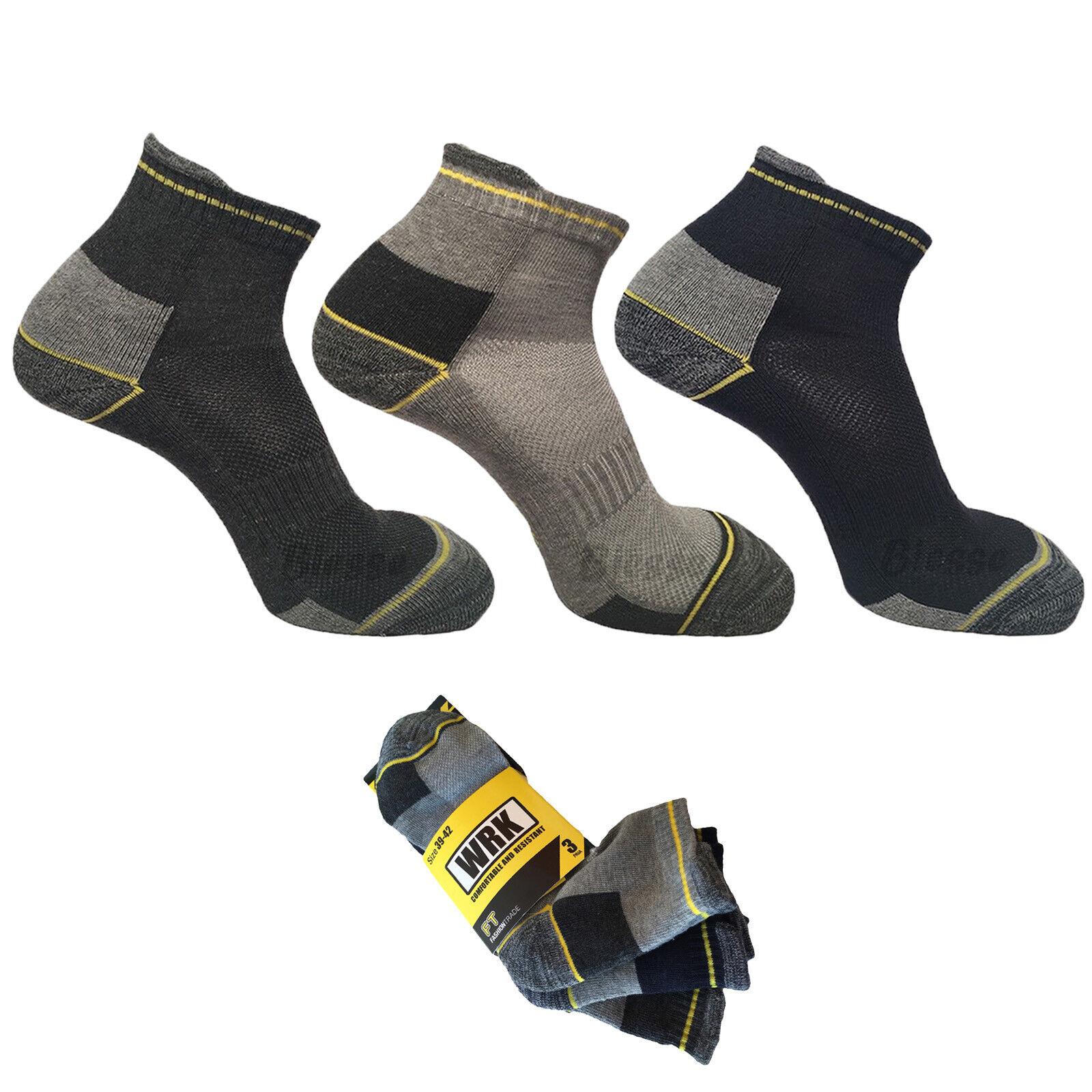 3 paia calze calzini corti da lavoro uomo sopra la caviglia rinforzati cotone