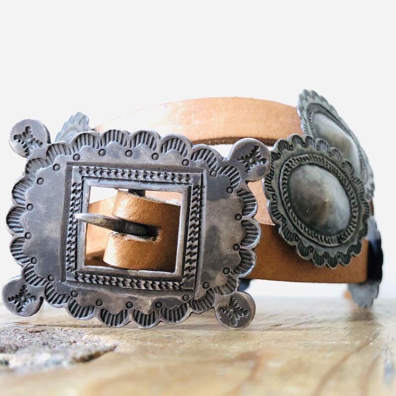30s 40s Vintage Navajo Concho Belt Buckle Coin Ingot Silver Fred Harvey Pueblo
