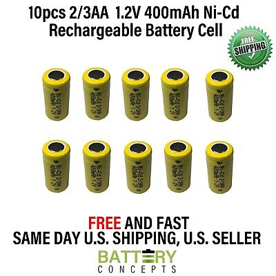 10 pcs 2/3AA 2/3 AA 400mAh NiCd Ni-Cad 1.2V Rechargeable Battery Cell US Stock