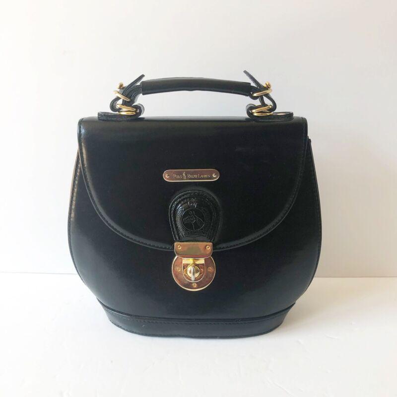 Polo Ralph Lauren Black Leather Gold Hardware Equestrian Saddle Handbag Purse