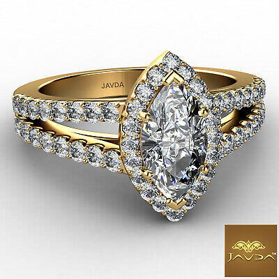 Halo Split Shank French Pave Marquise Diamond Engagement Ring GIA H VVS2 1.75Ct 1