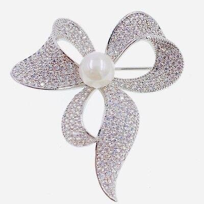 PEARL BOW BROOCH PIN use Swarovski Crystal Gemstone Wedding Silver GOLD Elegant