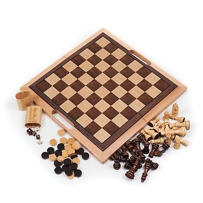 Deluxe Quality Wooden Chess Checker & Backgammon Set - Fold in Half for Storage Deluxe Wooden Chess Set