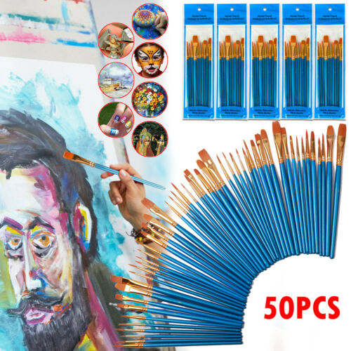 50 Pcs Artist Paint Brushes Set for Watercolour Acrylic Craft Nail Face Painting