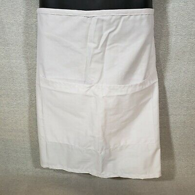 White Server Waist Apron 2 Pockets F79 Fame Fabrics 10l X 19w Long 40 Ties