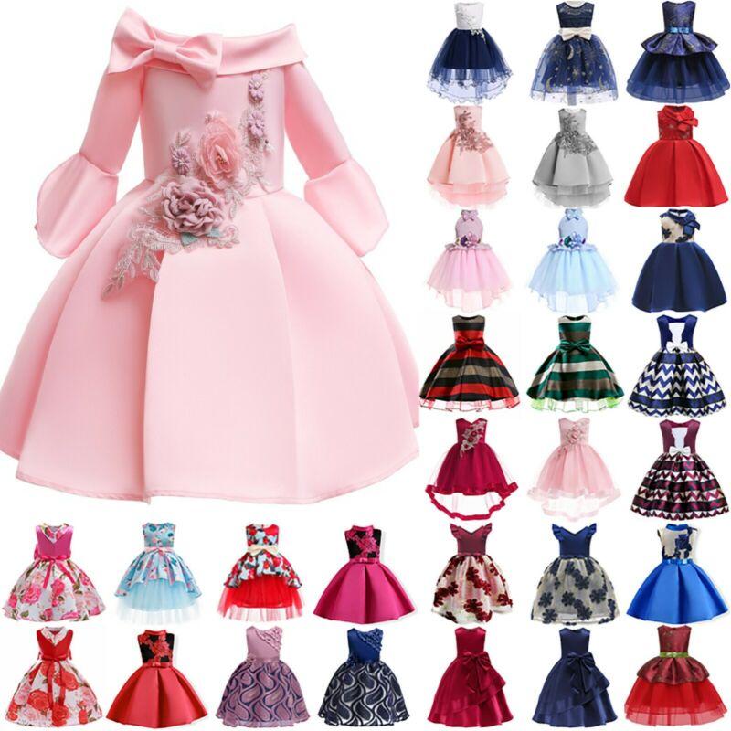 Kinder Mädchen Blumen Abend Prinzessin Hochzeit Partykleid Festkleid Ballkleider