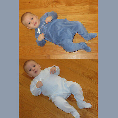 Cotton Velour Baby Romper Infant One Piece Snaps in Back  Easy Diaper Change Cotton Baby One Piece