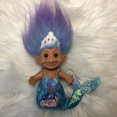"Vintage 4 ½"" Russ Mermaid Troll Doll with Aqua & Purple Hair Irridescent Tail"