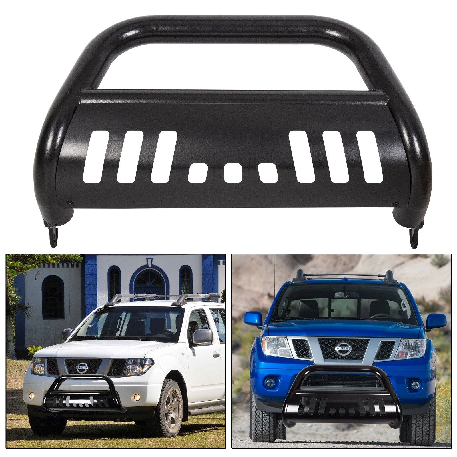 NV3500 Van Topline Autopart Black Bull Bar Brush Push Front Bumper Grill Grille Guard With Skid Plate For 12-18 Nissan NV1500 NV2500