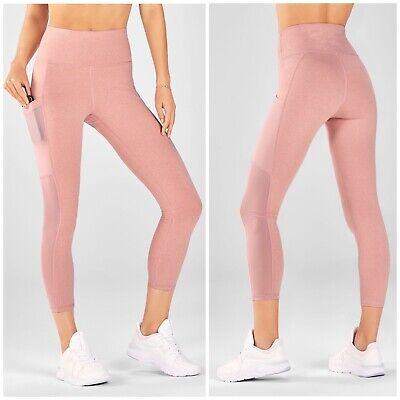 NEW FABLETICS Pocket Legging Mila Capri Rose Heather High Waisted $64.95 Medium