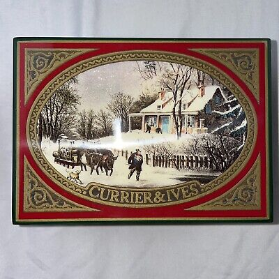 VINTAGE ENESCO CURRIER & IVES MUSIC BOX PLAYS SKATERS WALTZ CIRC 1991 A BEAUTY