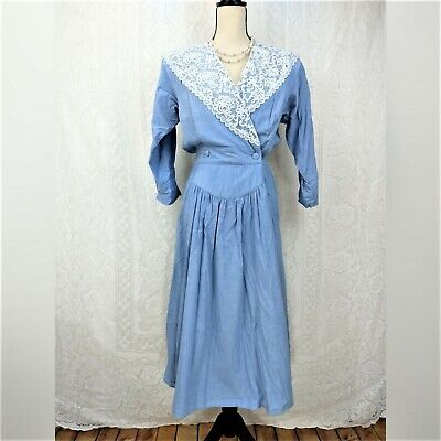 80s Dresses | Casual to Party Dresses Miss Oops Vintage Dress Size 10 Blue White Lace 3/4 Sleeve 1980s V-neck Buttons $27.00 AT vintagedancer.com
