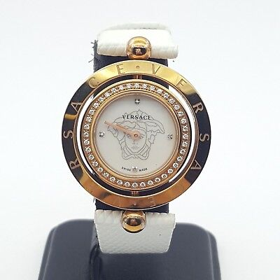 Genuine Versace Ladies Eon Two Rings Diamond Satin Mother of Pearl Diamond Watch