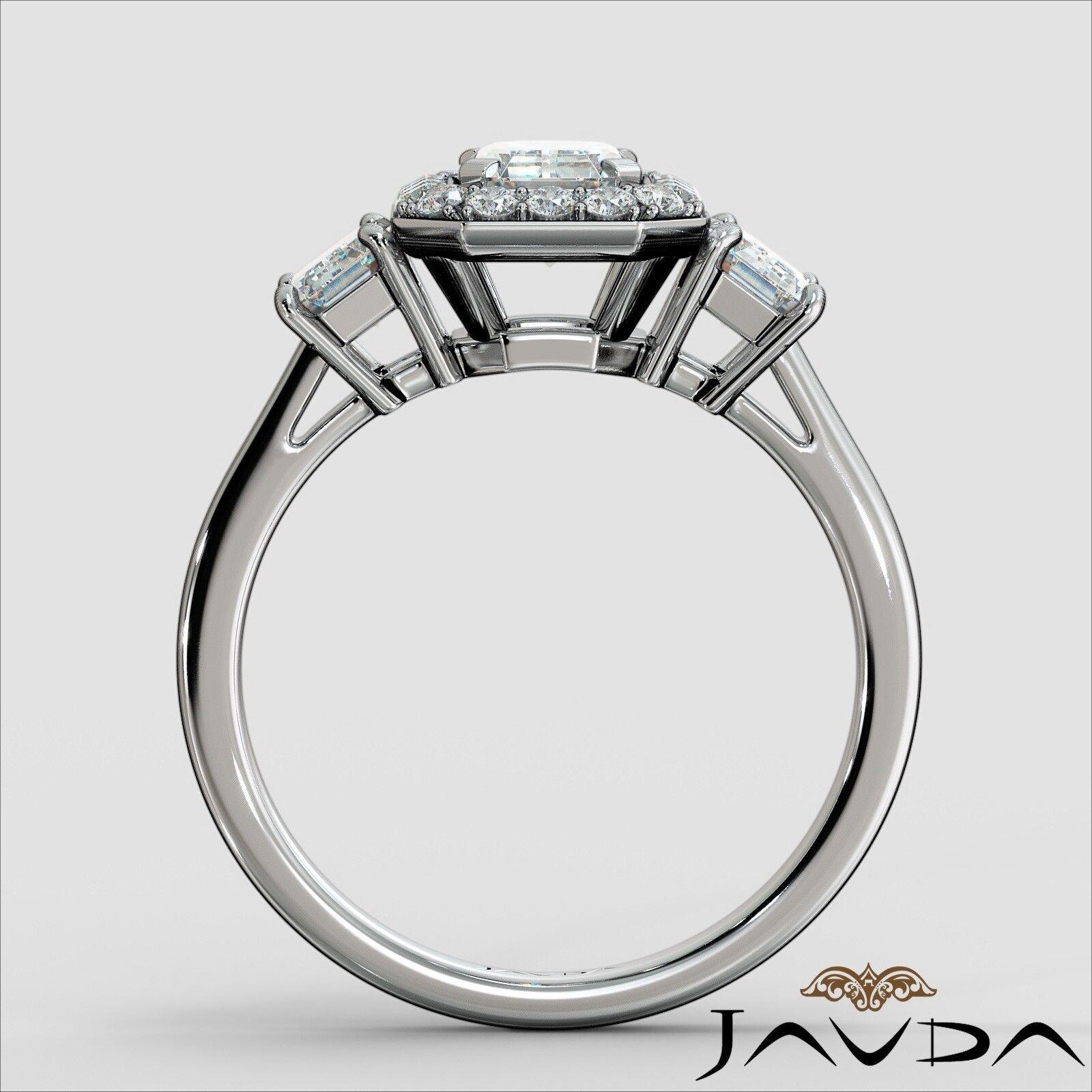 1.55ctw 3 Stone Halo Pave Emerald Diamond Engagement Ring GIA F-SI2 White Gold 3