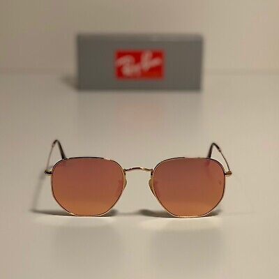 New Ray-Ban Hexagonal Flat Lenses Gold RB3548N 001/Z2 54-21 LARGE Copper (Cheap Ray Bans For Men)