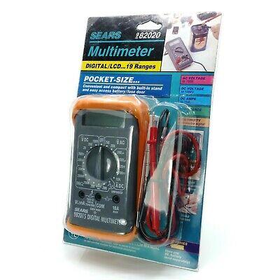 Vintage Sears Multimeter 982020 Portable Multitester 19 Range Digital Lcd Pocket
