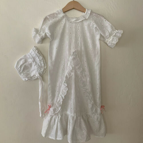 Vintage Baby Girls White Eyelet Baptism Christening Dress Gown 0 - 6 Months