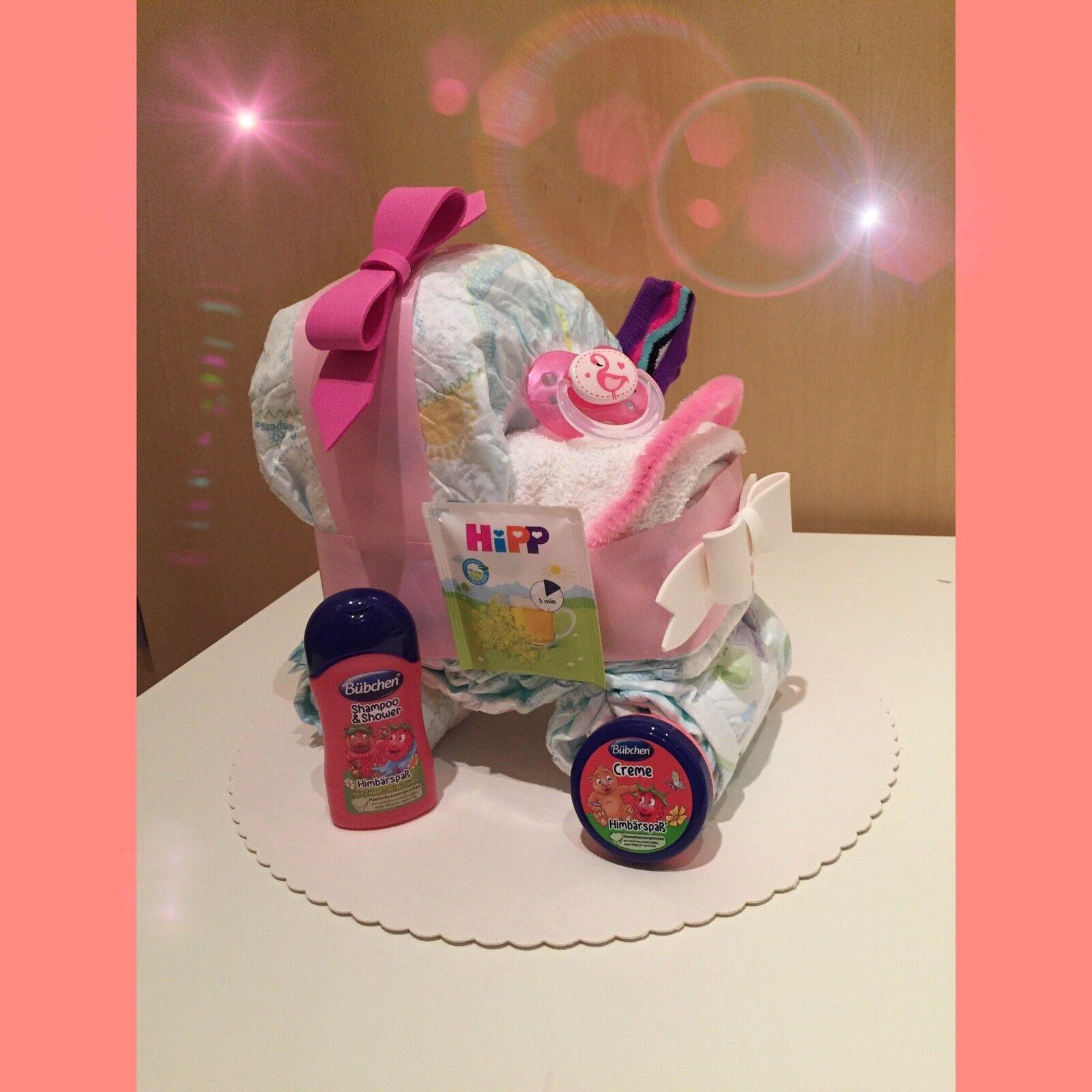 Windeltorte Windelkinderwagen Rosa Geburt Taufe Geschenk Pampers Baby Handarbeit