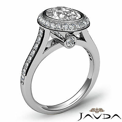 Cathedral Halo Pave Bezel Setting Oval Diamond Engagement Ring GIA H VS2 1.8 Ct 1