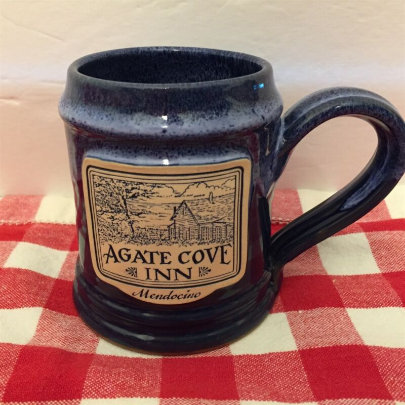 Agate Cove Inn Mendocino Cobalt Blue Deneen Pottery Mug Mint