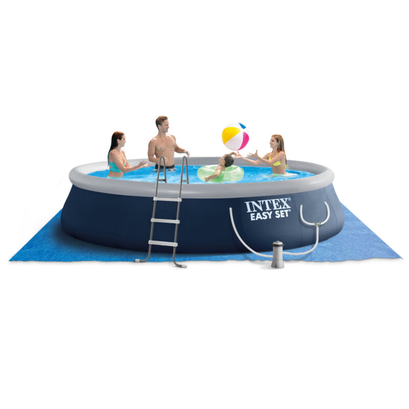 Intex Easy Set 15ft x 42in Inflatable Outdoor Above Ground Swimming Pool w/ Pump