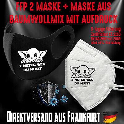 Fashion Mask Baumwollmix waschbar plus FFP2 Mundschutz Maske 2m Weg Star Jedi