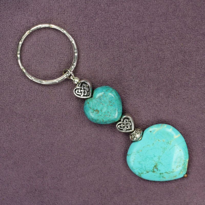 BLUE MAGNESITE CELTIC HEART KEY CHAIN Hammered Ring Silver Genuine Veined Stones