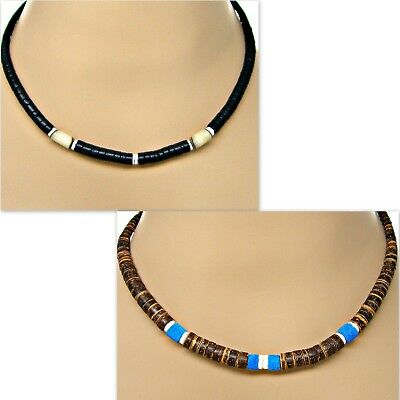 """18"""" Puka Shell Graduated Coco Necklace Black or Brown Surfer Beach SUP"""