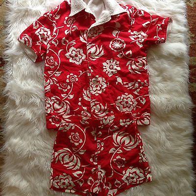 Laguna Cabana Set Hawaiian Floral Red White 2 Pc Swim Shorts Terry Lined Shirt M