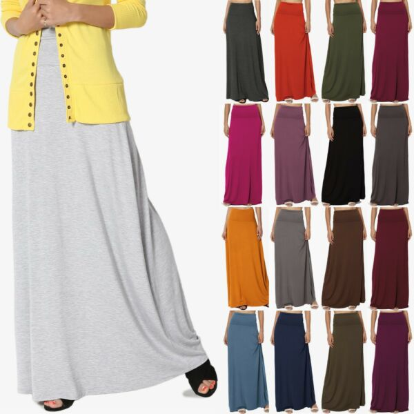 TheMogan S~3XL Women's Casual Lounge Solid Draped Jersey Relaxed Long Maxi Skirt