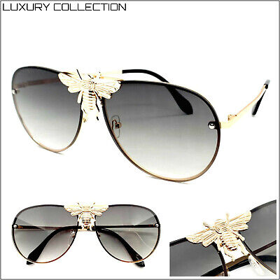CLASSIC RETRO Designer Style SUNGLASSES Rose Gold Frame Gray Lens Huge (Bumblebee Sunglasses)