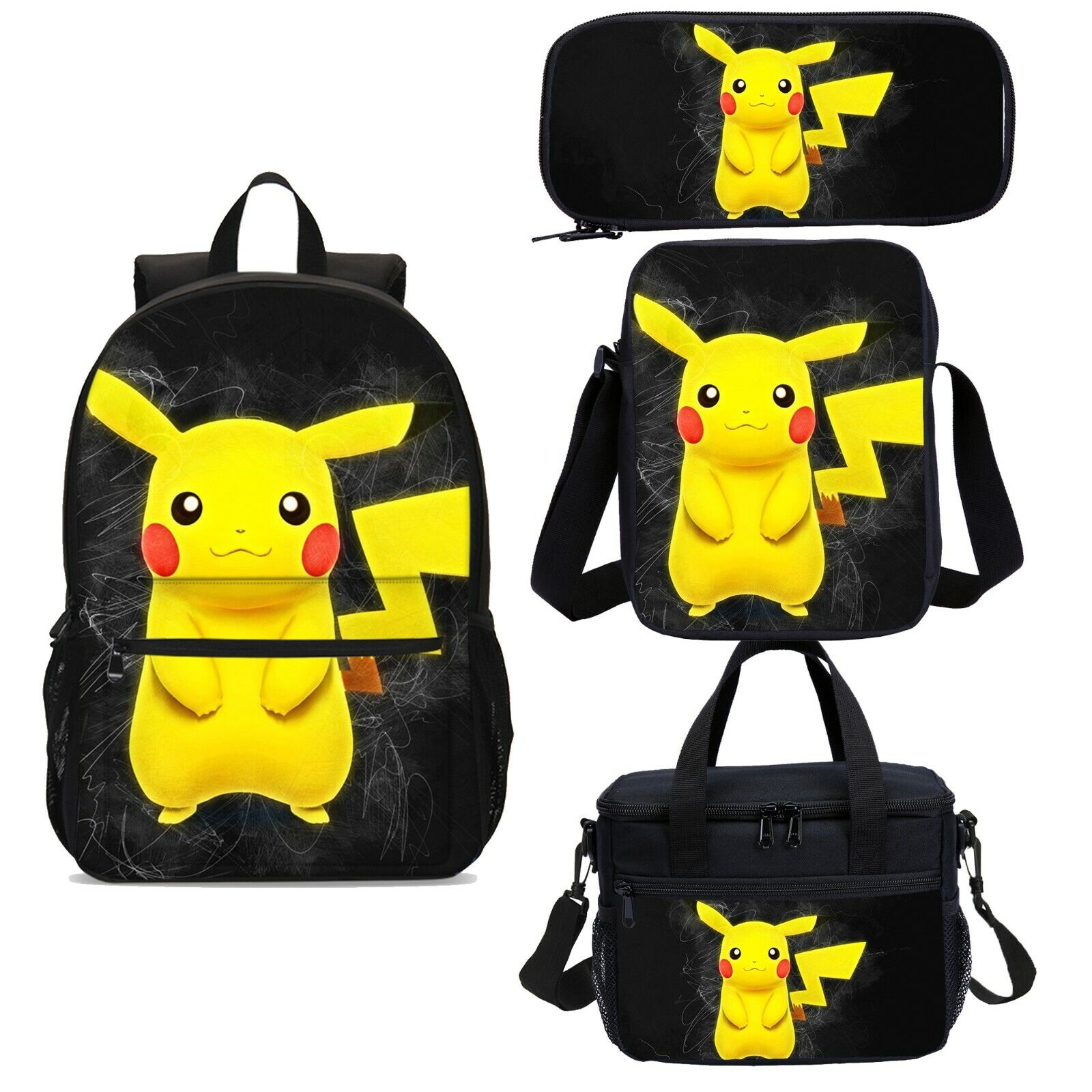 Pokemon Pikachu Kids Backpack Insulated Lunch Bag Cross-body Pen Bag Wholesale