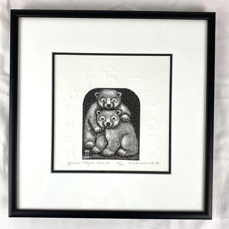 "Dale DeArmond Art ""Gemini"" 1989 Etching Wood Engraving w Embossing 22/100 Framed"