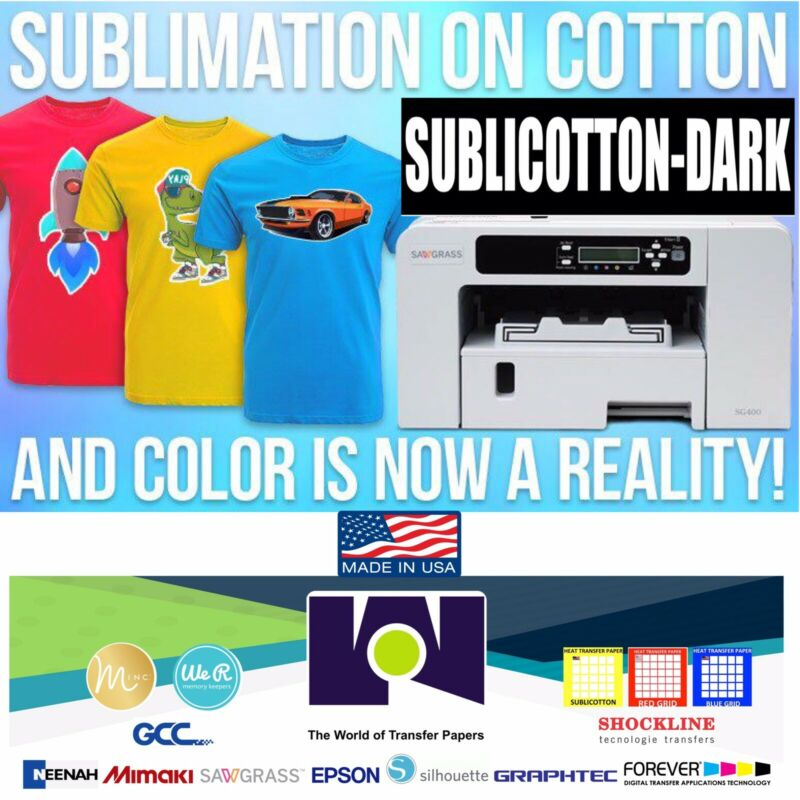 "10 Sheets 8.5"" X 11"" NEW SUBLICOTTON-DARK Heat Transfer Paper GO2COTTON Dark"