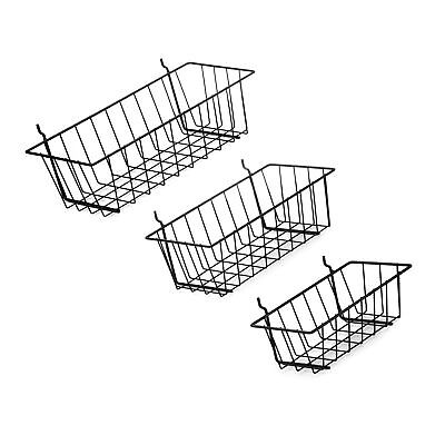 Pegboard Basket Set - 3 Pack - Hooks To 14 Hole Peg Board - B... Free Shipping