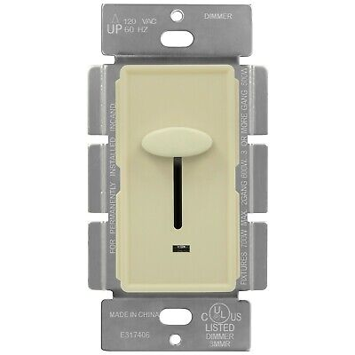 ENERLITES Slide Dimmer Switch Single Pole W/ Backlight 120V 60 Hz Almond Slide Almond Dimmer
