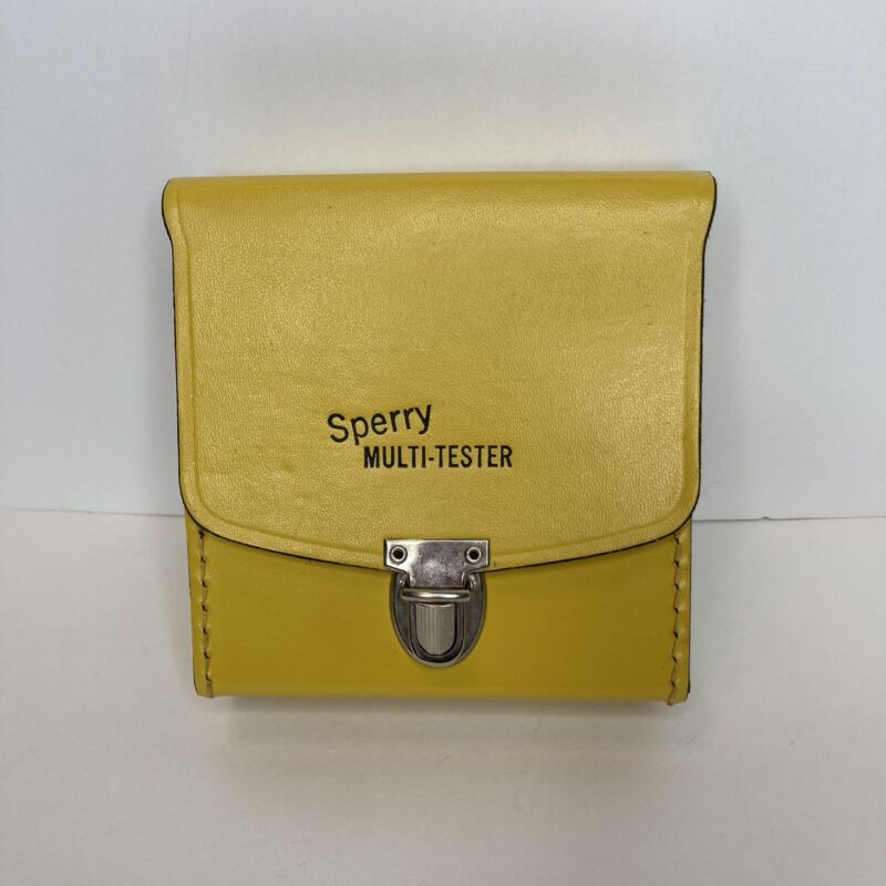 """Vintage Sperry C-15B Case For Multi-Tester, Yellow Leather 4.75"""" Made In USA"""