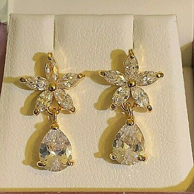 White Gold Drop Dangle Earrings Sim Diamond Star Pear Drop RRP £29.99 GIFT BOXED