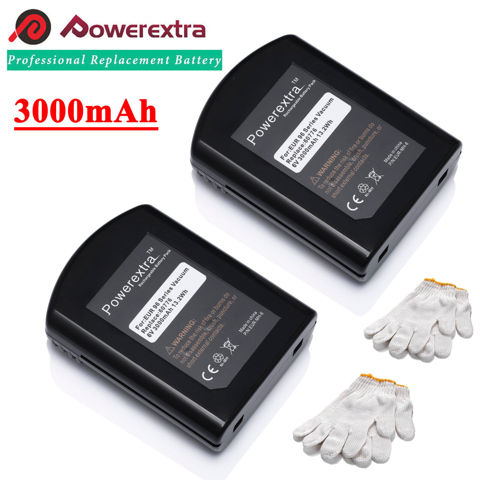 2 x 6V 3.0Ah Vacuum Battery 60776 For Eureka Quick Up 2-in-1