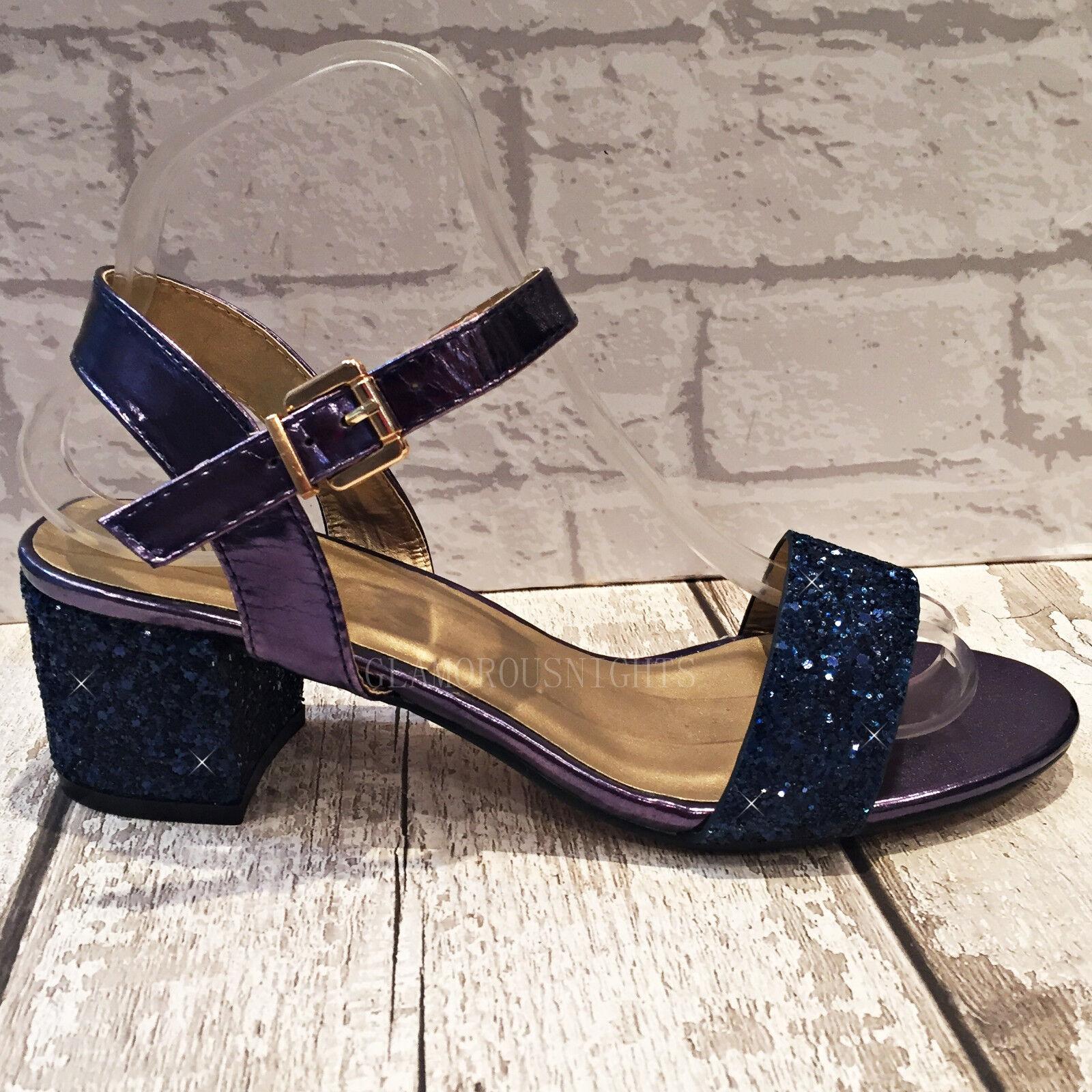Ladies Navy Blue Sparkly Glitter Block