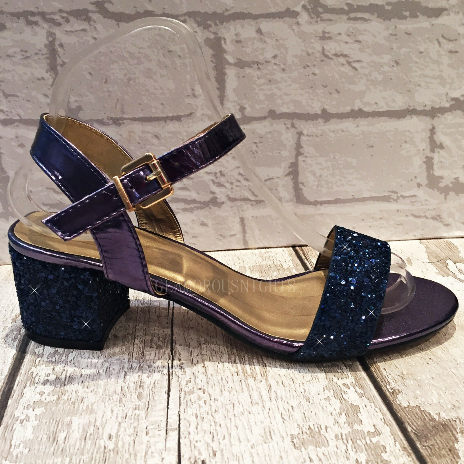 d8005eee1bc Details about Ladies Navy Blue Sparkly Glitter Block Heel Ankle Strap Peep  Toe Evening Sandals