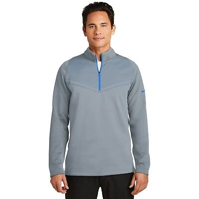 - Mens Nike Golf Dri Fit + Therma Fit Pullover LARGE Cool Gray/Blue NWT