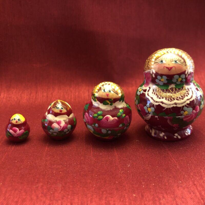 "Vintage Miniature Russian Nesting Dolls 1.75"" Tall Matryoshka Wooden Set of 4"