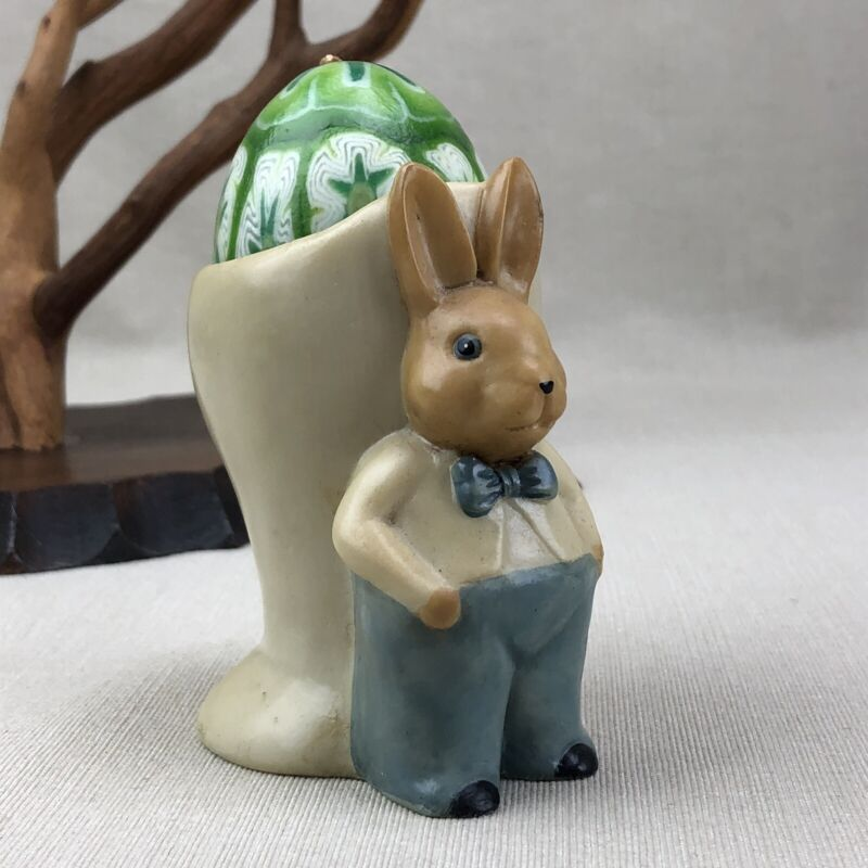 Rabbit Japanese Egg Cup Holder Vintage 1970s Easter Bunny in Suit