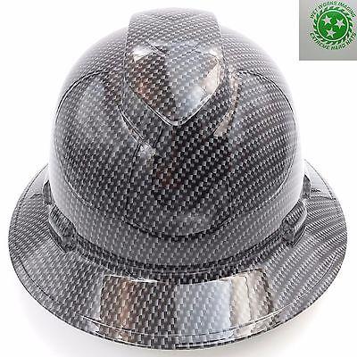 Hard Hat FULL BRIM custom hydro dipped , OSHA approved CARBON FIBER GRAY NEW