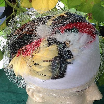 Vintage White Velvet Gold Red Black Pheasant Feathers Pillbox Hat - Women's Hat