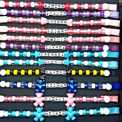 Personalised dummy clips for boys or girls buy 2 get 1 free