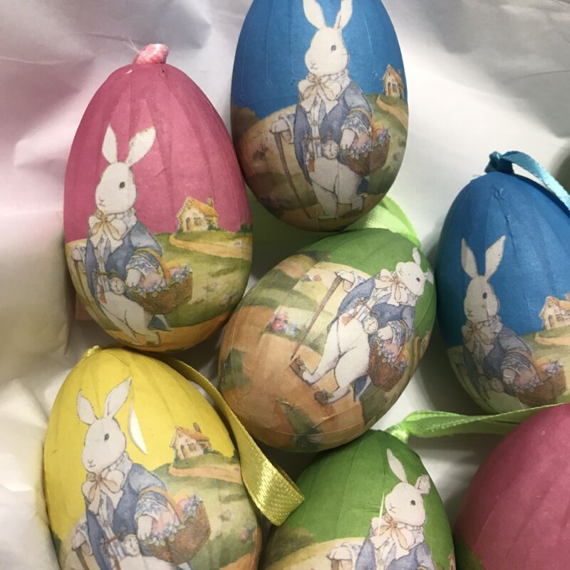Easter Egg Ornaments Dozen Pastel W Rabbits, Hangers