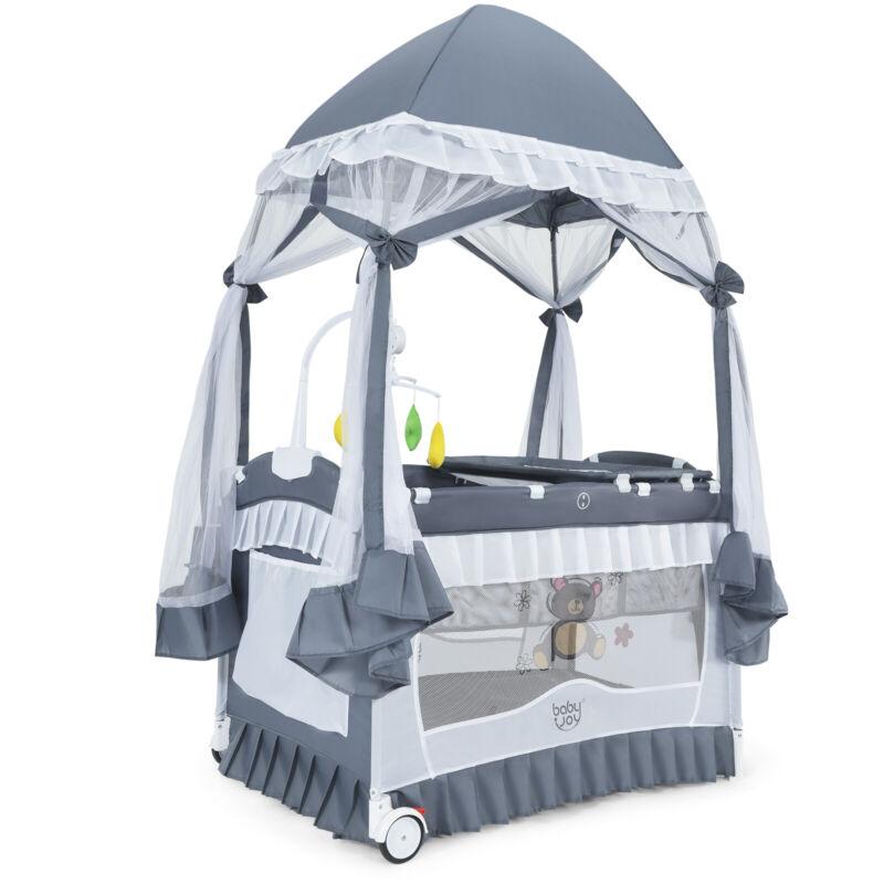 Babyjoy 4 in 1 Portable Baby Playard Crib Bassinet Bed w/ Table Canopy Music Box